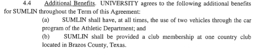 Screenshot of then-head football coach Kevin Sumlin's contract with Texas A&M University, for the term beginning January 1, …
