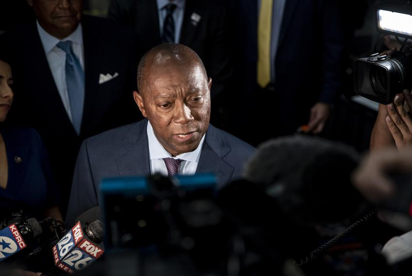 Houston Mayor Sylvester Turner speaks with the media after arriving at the George R. Brown Convention Center in Houston on...
