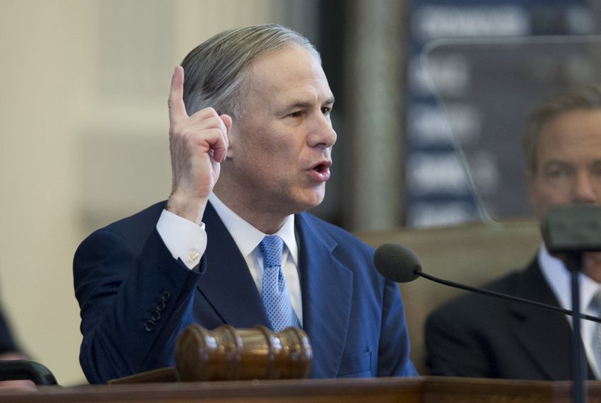 Gov. Greg Abbott delivering his State of the State speech on Feb. 17, 2015.