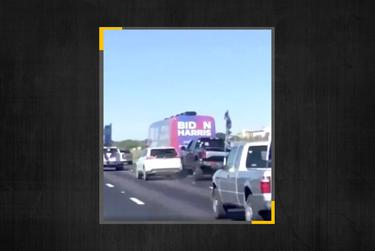 A Twitter user captured the moment a truck and a vehicle collided as the Biden-Harris bus tour was being followed by a caravan of Trump supporters.