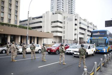 The Armed Forces together with police supervise the streets of Lima, Peru, after the declaration of a state of emergency in March of 2020.