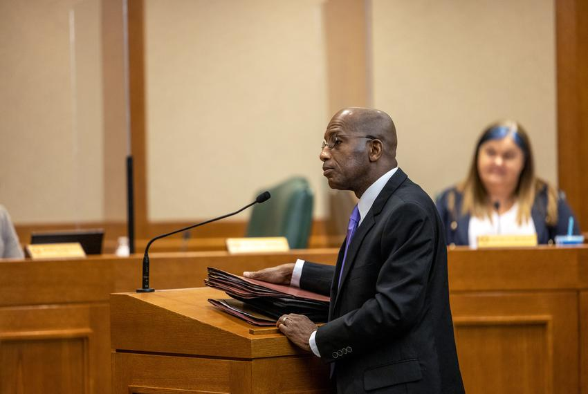 Rep. James White, R-Hillster,  testifies regarding HB 1708, legislation he proposed relating to an electronic voting system …