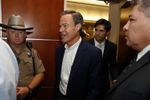 House Speaker Joe Straus emerges from a House Republican caucus meeting at the Reagan building in Austin on August 15, 2017.