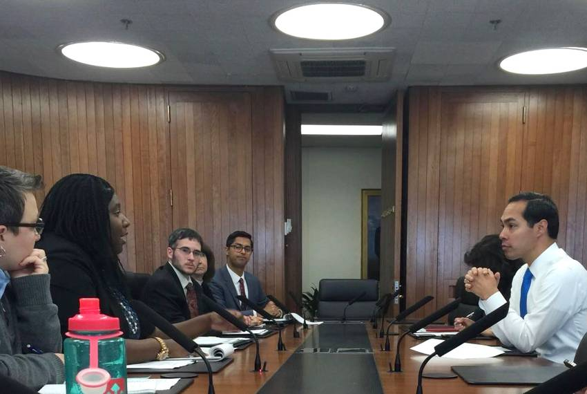 Senior Adviser Maya Rupert at a meeting with Housing Secretary Julian Castro.