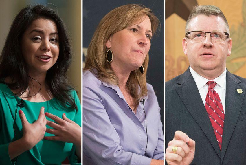 Left to right: state Rep. Victoria Neave, D-Dallas, state Sen. Konni Burton, R-Colleyville and state Rep. Tony Dale,R-Cedar Park.
