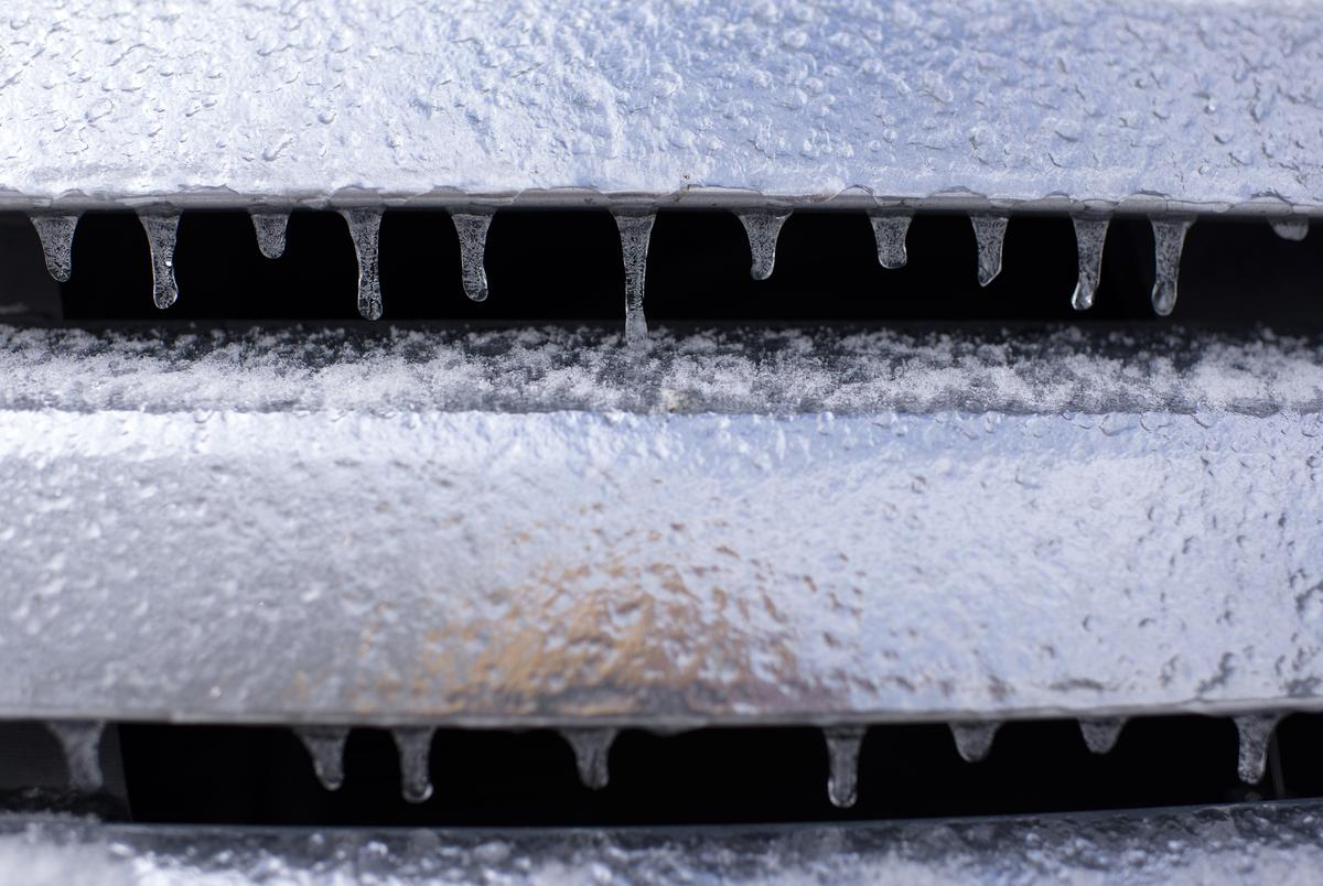 Icicles form on the grill of a car in Houston on Feb. 15, 2021.