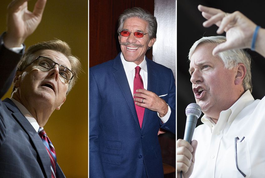 Left to right: Lt. Gov. Dan Patrick, Geraldo Rivera and Democratic nominee for lieutenant governor Mike Collier.