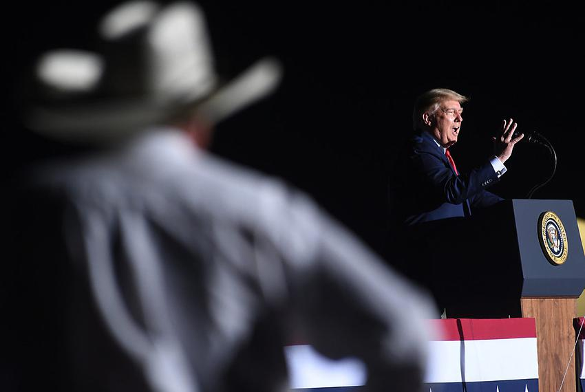 President Donald Trump during  a campaign rally at the Minden-Tahoe Airport in Nevada in September.