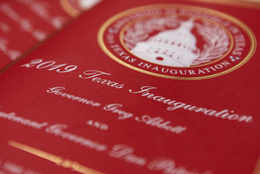 The official program for the 2019  Texas Inauguration. Feb. 6, 2019.