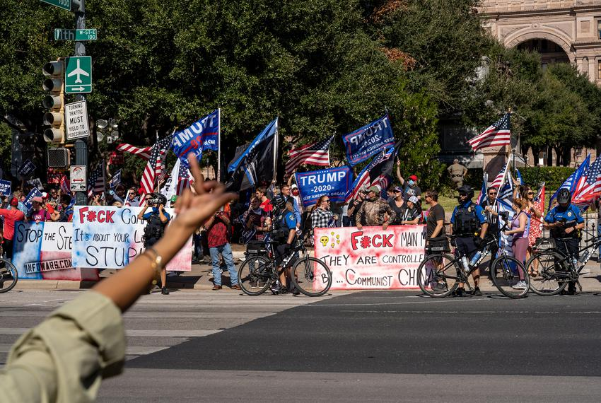 """Supporters of President Donald Trump gather in front of the state Capitol Building for a """"Stop the Steal"""" rally after Joe Bi…"""