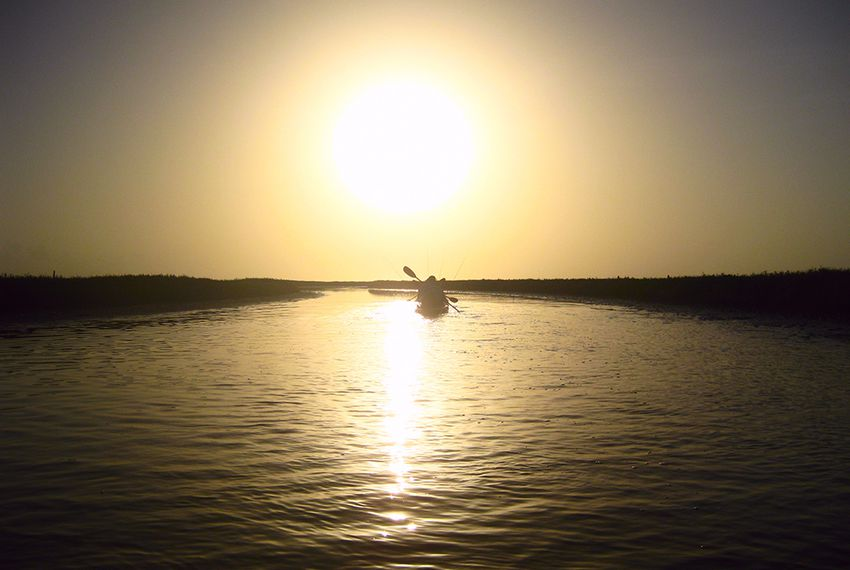 Kayak fishers in east Matagorda Bay.