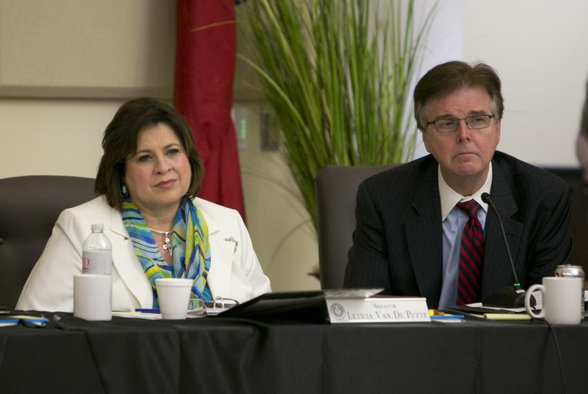 Sen.Leticia Van de Putte D-San Antonio and Sen. Dan Patrick R-Houston during during a joint Interim Committee to Study Human…