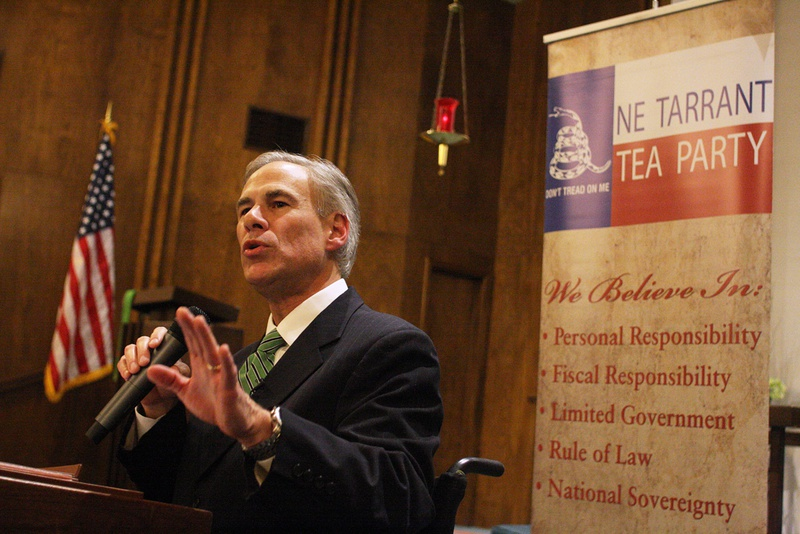 Gubernatorial candidate Greg Abbott speaks at a NE Tarrant Tea Party meeting at Concordia Lutheran Church in Bedford.
