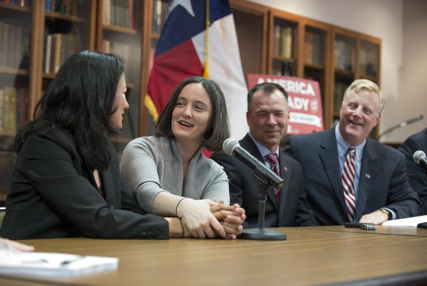 Couples Cleopatra DeLeon and Nicole Dimetman and Victor Holmes and Mark Phariss celebrated the U.S. Supreme Court's decision…