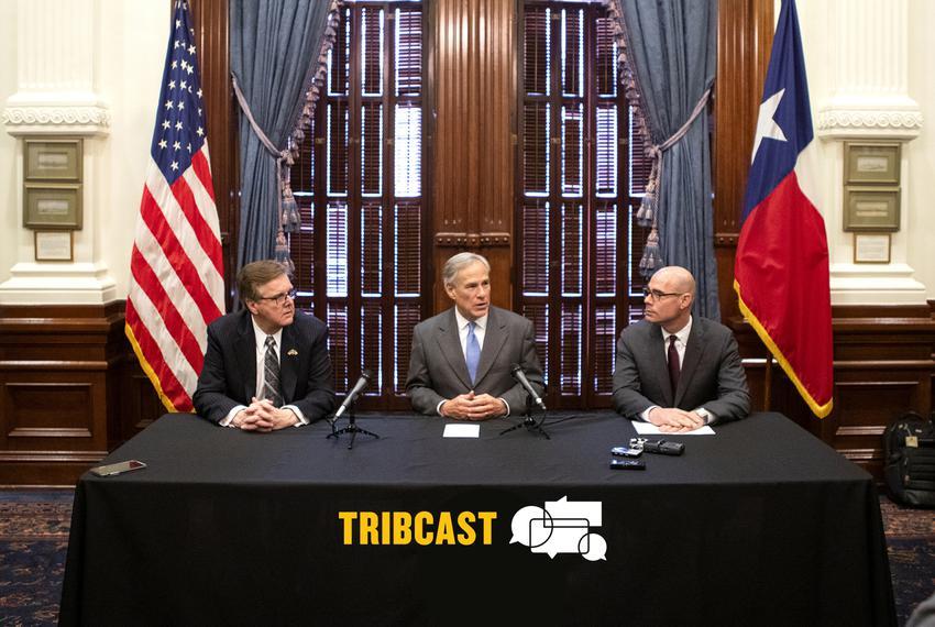 From left: Lt. Gov. Dan Patrick, Gov. Greg Abbott and House Speaker Dennis Bonnen speak at a press conference regarding prop…