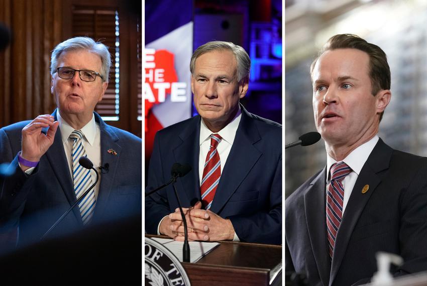 From left, Lt. Gov. Dan Patrick, Gov. Greg Abbott and House Speaker Dade Phelan.