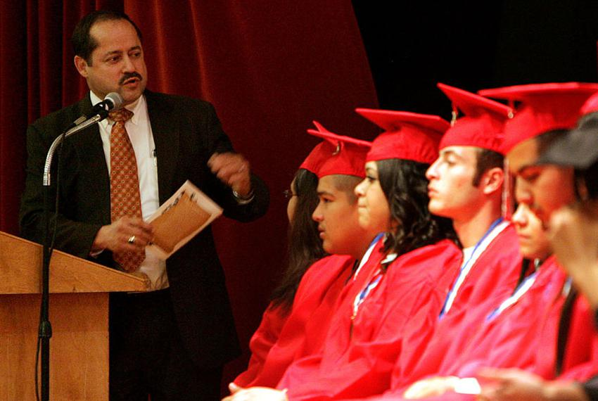 Pharr-San Juan-Alamo Independent School District superintendent Daniel King speaks to graduates from Options High School, Co…
