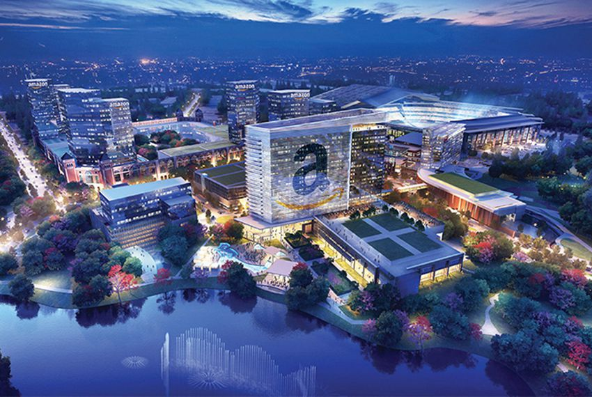 An artist's rendering of the proposed Amazon site in Arlington.