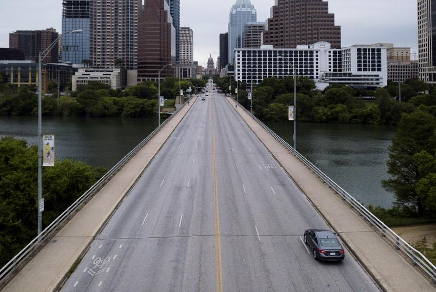 Sparse traffic on the Congres Avenue bridge during the coronavirus pandemic. April 2, 2020.