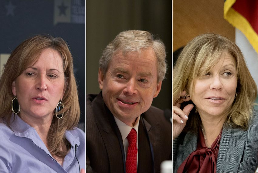 State Sens. Konni Burton, R-Colleyville, Don Huffines, R-Dallas, and Joan Huffman, R-Houston.
