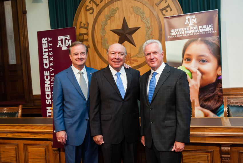 """From left: Texas A&M University System Chancellor John Sharp, state Sen. Juan """"Chuy"""" Hinojosa, D-McAllen, and Brett Giroir, CEO of Texas A&M Health Science Center, discussed the newly created Texas A&M Institute for Public Health Improvement and the launch of its Healthy Texas Initiative on June 17, 2014."""