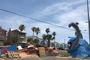 Port Aransas, Texas, is still rebuilding from Hurricane Harvey, which hit in August 2017. Piles of trash from damaged property, including this one on June 4, 2018, are a common sight.