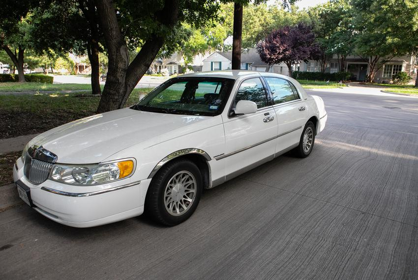 The Lincoln town car Joseph Pintucci was driving when he was shot and killed in a parking garage after being robbed while se…