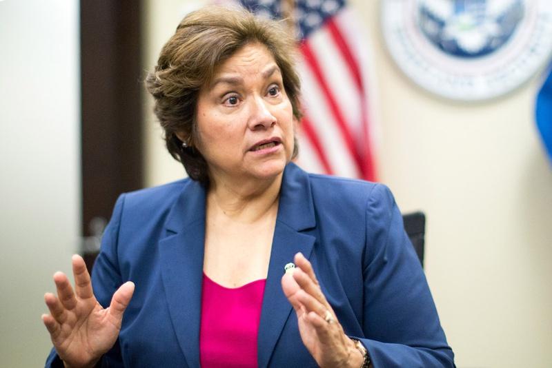 Sarah R. Saldaña, director of U.S. Immigration and Customs Enforcement, at ICE headquarters in Washington, D.C., December 9, 2015.