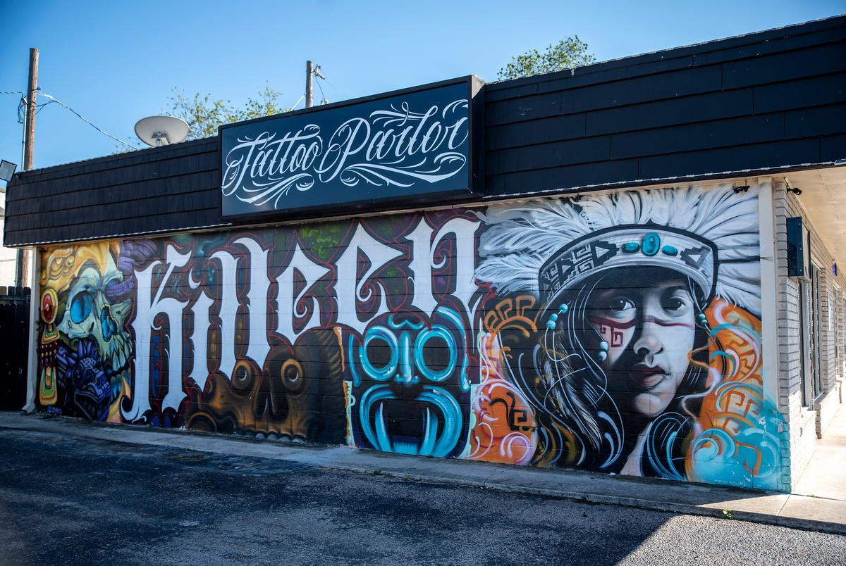 An indigenous themed mural on the side of a tattoo parlor on Monday, Oct. 11, 2021 in Kileen.