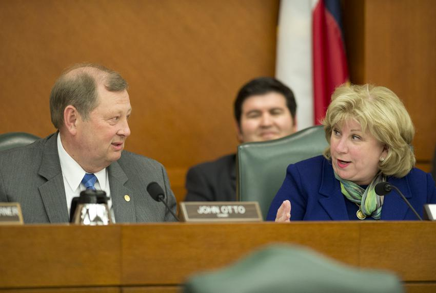 State Rep. John Otto, R-Dayton, and Sen. Jane Nelson, R-Flower Mound, are shown at a joint budget hearing on May 20, 2015.
