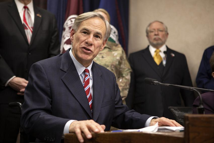 Gov. Greg Abbott addresses the press after a meeting with government officials on COVID-19 preparedness in the state. Feb. 2…