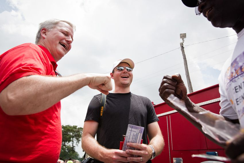 James Dickey (l.) and Brendan Steinhauser at a Juneteenth celebration in East Austin on June 21, 2014.