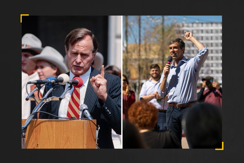 George H.W. Bush as a presidential candidate in 1979, left, and U.S. Rep. Beto O'Rourke during his campaign for U.S. Senate in 2018.