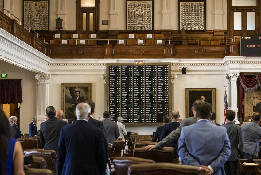 Members voted on a motion by State Rep. Will Metcalf, R-Conroe, to instruct the Department of Public Safety to detain absent…
