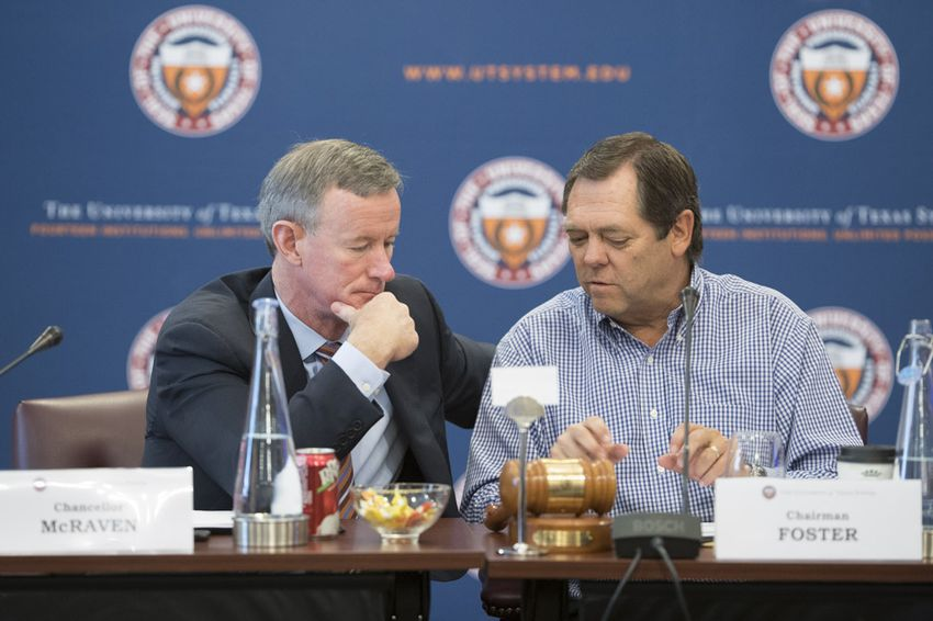 UT System Chancellor Bill McRaven chats with Board of Regents Chairman Paul Foster during a July meeting.