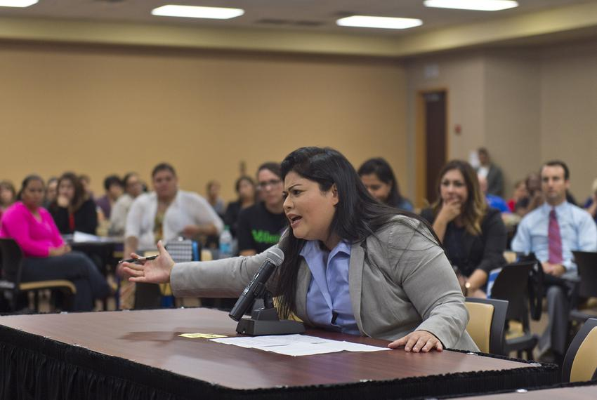 Vanessa Tijerina addresses a U.S. Department of Education panel about her 13-year-old special needs child on Dec. 13, 2016, …