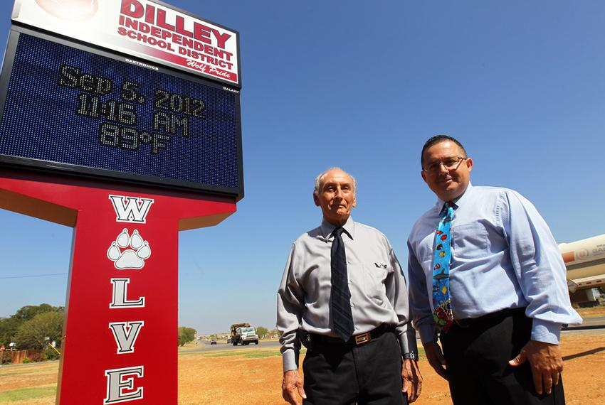 In Dilley ISD, southwest of San Antonio, business manager Elpidio Mata and Superintendent Nobert Rodriguez have seen propert…
