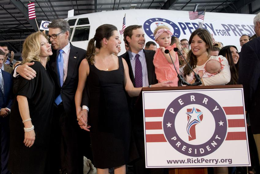 The Perry family gathers onstage after Rick Perry announces plans to run for the 2016 Republican nomination for president.