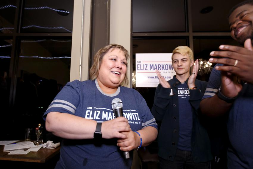 Democratic Texas House District 28 candidate Eliz Markowitz speaks to supports at a watch party in Katy, Texas, Tuesday, Jan…
