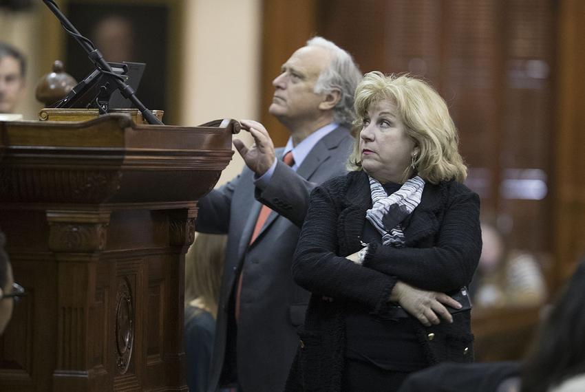 State Sen. Jane Nelson, R-Flower Mound, and Sen. Kirk Watson, D-Austin, are shown during a special session debate on July ...