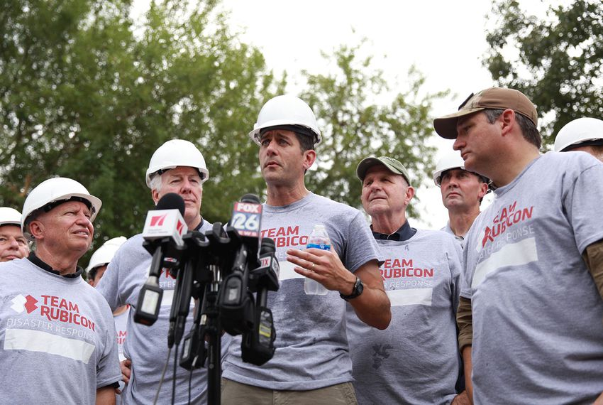 Members of the Texas congressional delegation listen as House Speaker Paul Ryan, R-Wisconsin, talks about Harvey recovery efforts at a press conference in Friendswood on Sept. 21, 2017.