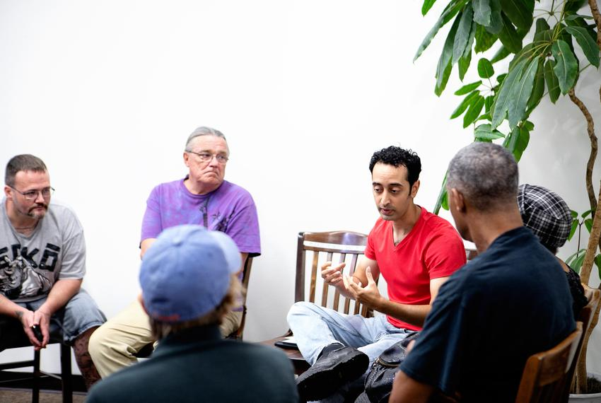 Arash Farasat facilitated a meeting at a book store in Dallas on June 16, 2019 for United Professional Organizers, a group p…