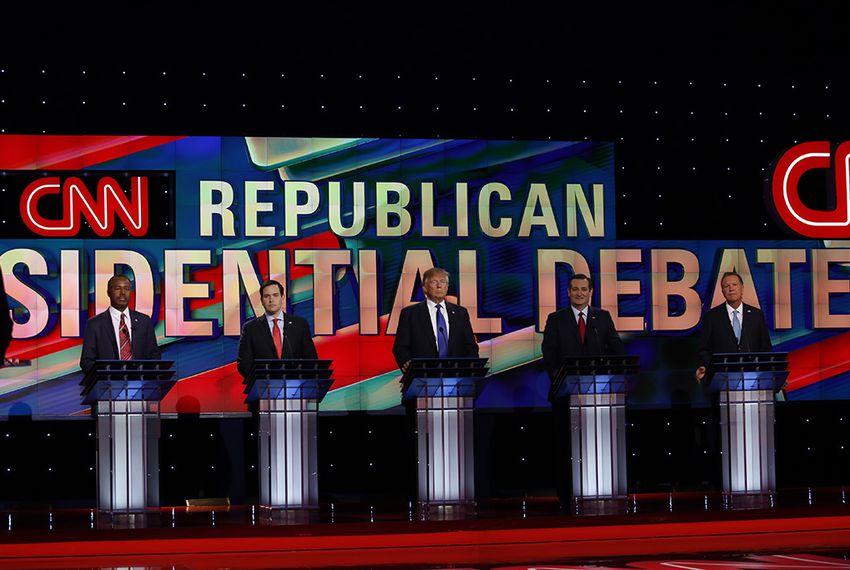 The remaining GOP presidential hopefuls debate in Houston on Feb. 25, 2106.