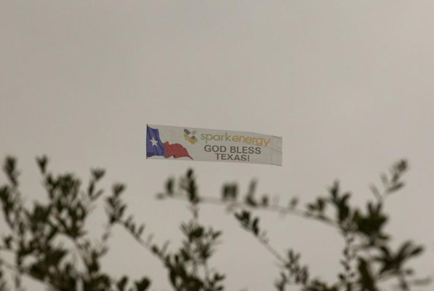Spark Energy's banner that flew low above the Texas inauguration on Jan. 18, 2011.