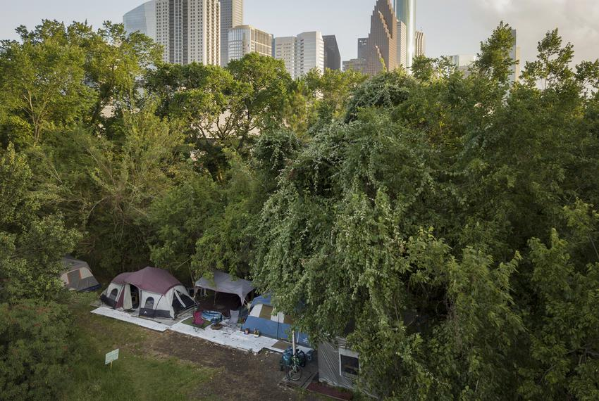 A homeless camp near downtown Houston on June 23, 2019.