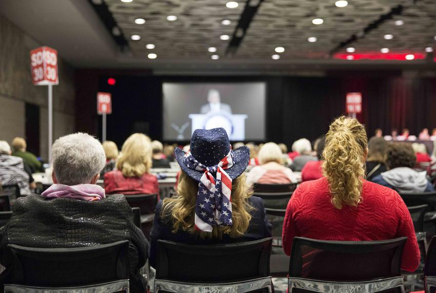 Attendees listen to speakers at the Texas Federation of Republican Women Convention in Dallas on Oct. 19, 2017.
