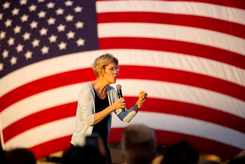 Democratic presidential candidate and U.S. Sen. Elizabeth Warren, D-Massachusetts, speaks at a town hall held in Austin on...