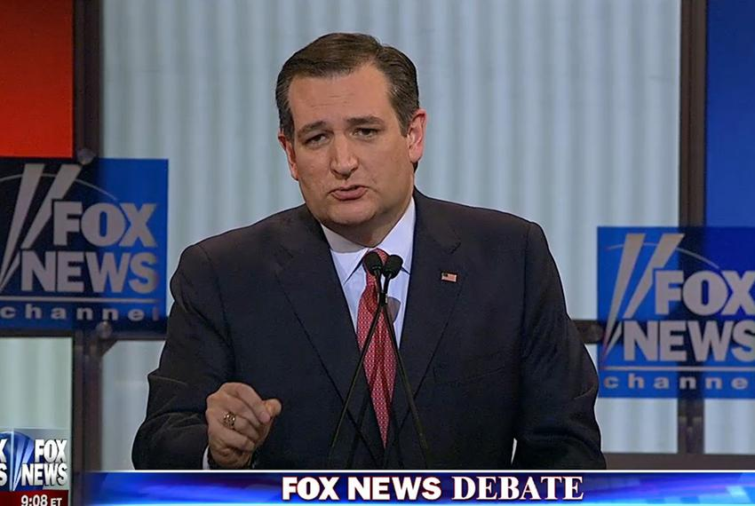 U.S. Sens.Ted Cruz at the GOP presidential debate in Detroit, Michigan on March 3, 2016.