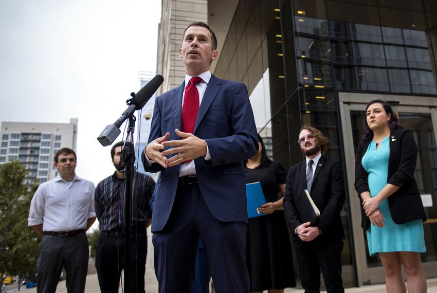 Civil rights lawyer Mike Siegel speaks at a press conference on Nov,26, 2019, representing Texas Young Democrats and Texas C…