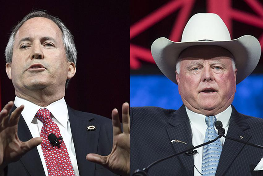 Texas Attorney General Ken Paxton (l.) and Agriculture Commissioner Sid Miller. Both spoke at the state GOP convention in Da…